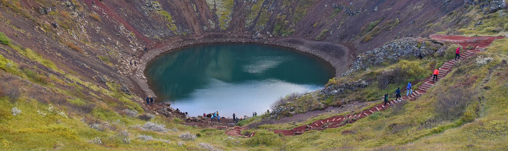 Kerid kratermeer en vulkaan